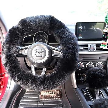 Winter Warm Furry Handbrake Cover Gear Shift Cover Steering Wheel Cover 14.96x 14.96 1 Set 3 Pcs Black