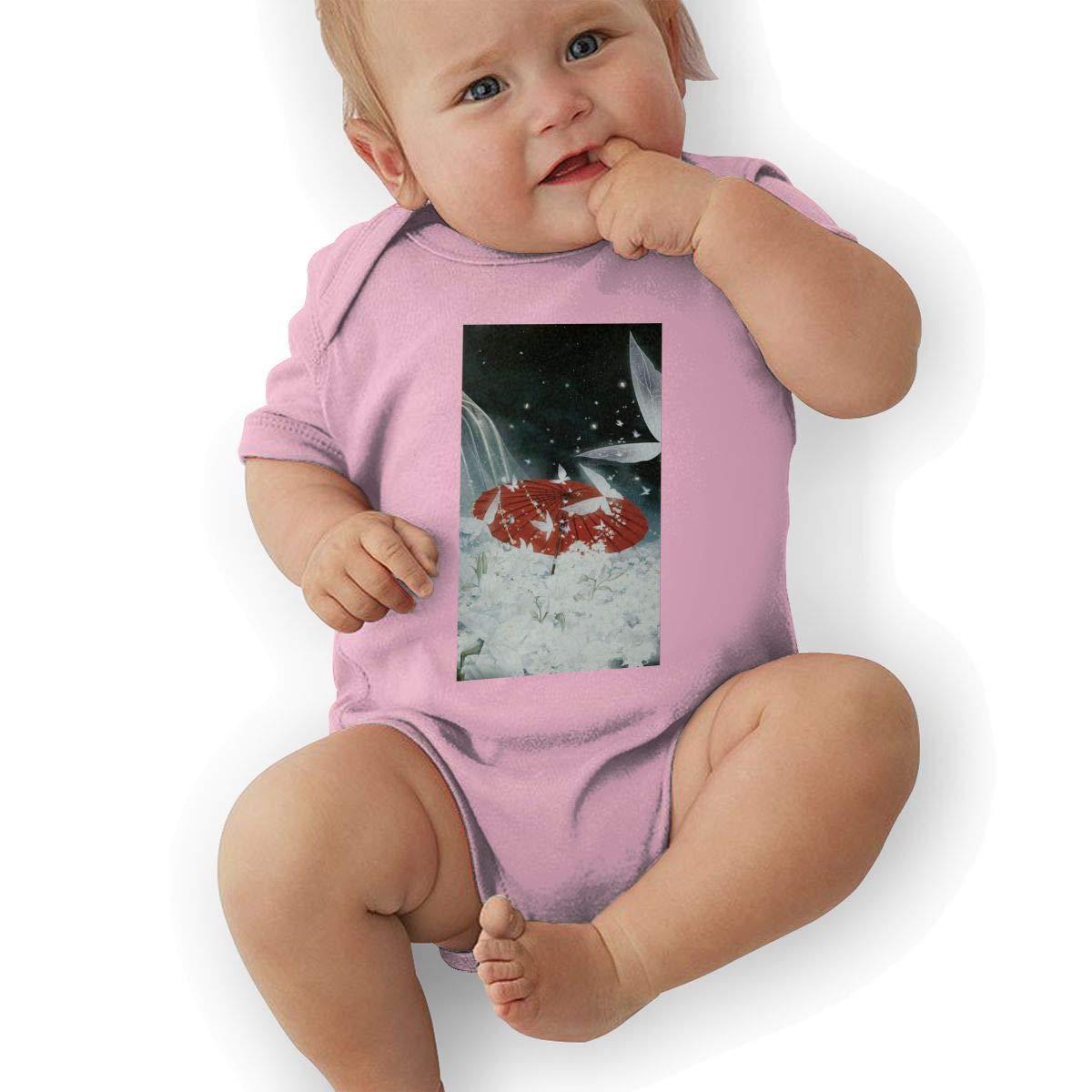 Infant Baby Boys Bodysuit Short-Sleeve Onesie Snow Umbrella Asian Art Print Jumpsuit Autumn Pajamas