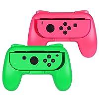 ADZ Grips 2 x Controller Grip Handles for Nintendo Switch Joy-Con Controller (Green/Pink)