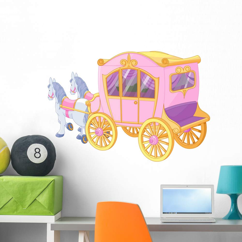 Wallmonkeys Princess Carriage Wall Mural Peel and Stick Vinyl Graphic (36 in W x 28 in H) WM525875