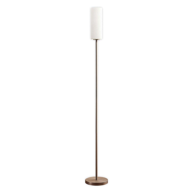 Lampenwelt LED Stehlampe 'Felice' dimmbar (Modern) in Weiß aus Glas u.a. für Wohnzimmer & Esszimmer (1 flammig, E27, A+, inkl. Leuchtmittel) | LED-Stehleuchte, Floor Lamp, Standleuchte