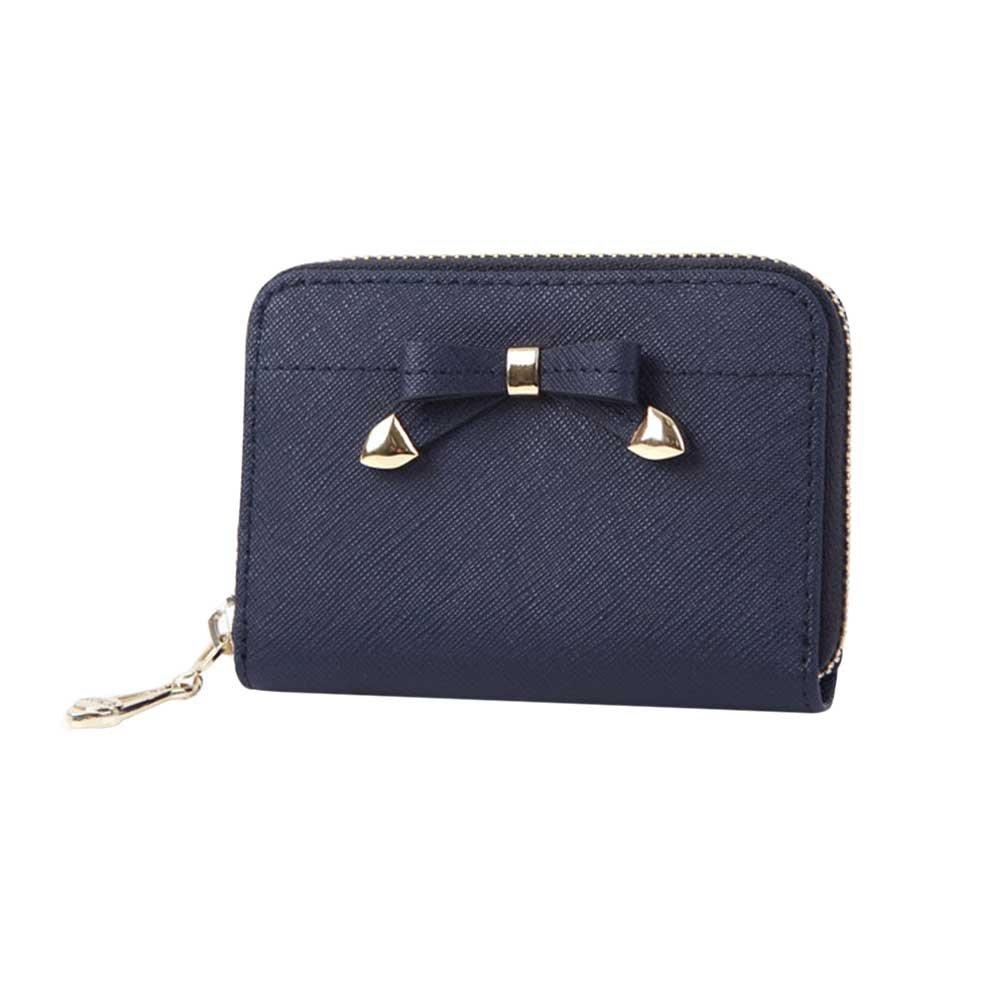Womens Ribbon Zip Around Genuine Leather Credit Card Case Organizer Compact Wallet Purse Navy
