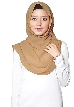 SAFIYA - Hijab pour femmes musulmanes voilées I Foulard voile turban  écharpe pashmina châle islamique I Mousseline de soie I Beige - 75x180cm   Amazon.fr  ... 9efca46ee0e