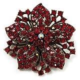 Victorian Corsage Flower Brooch (Burgundy Red & Antique Gold)