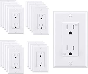 WEBANG Decorator Electrical Wall Outlet White, Tamper-Resistant Duplex Receptacle, Residential Grade, 3-Wire, Self-Grounding, 2-Pole, 15A 125V, UL Listed, 20 Pack Wall Plates Included