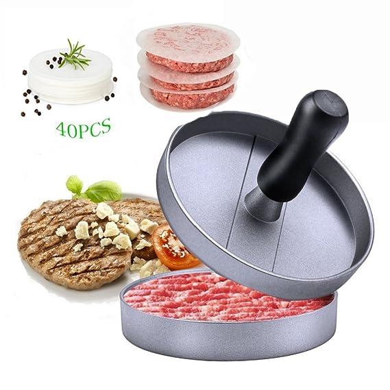 Burger Press - Prensa para hamburguesas antiadherente + 40 discos de cera, molde antiadherente, ideal para barbacoa, garantía de por vida: Amazon.es: Hogar