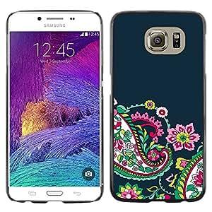 LECELL--Funda protectora / Cubierta / Piel For Samsung Galaxy S6 SM-G920 -- Floral Flowers Navy Blue --