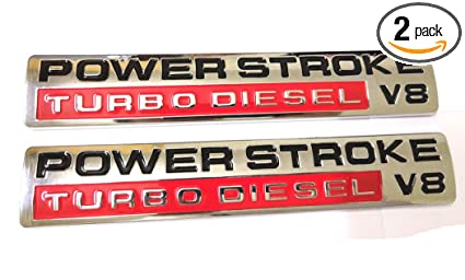 Amazon com: 2pcs Power Stroke Turbo Diesel V8 Fender Emblems