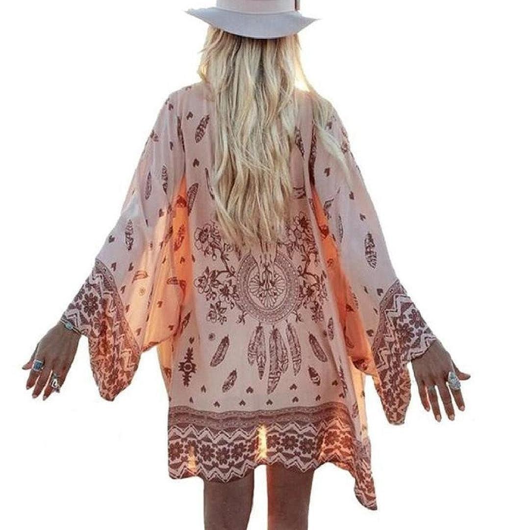 ZEZKT☼Boho Printed Chiffon Lose Schal Kimono Cardigan Jacke Bluse Bikini Cover Up Strandkleid Jäckchen Dünne Blumendruck Chiffon Strickjacke Boho Gedruckt Tops Deckel Lang Ärmel Bluse