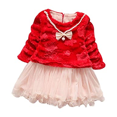 LANSKIRT Ropa para Recién Nacido Infantil bebé niñas Vestido Largo de la Princesa Tutu de Manga Larga Gruesa Falda de Felpa Otoño e Invierno Jumpsuit: ...