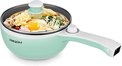 Dezin Electric Hot Pot Upgraded, Non-Stick Saut Pan, Rapid Noodles Cooker, 1.5L Mini Pot for Steak, Egg, Fried Rice, Ramen, Oatmeal, Soup with Temperature Control, Seafoam Green Egg Rack Included