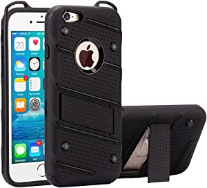 CHAJIJIAO Ultra Slim Case for iPhone 6 Plus & 6s Plus Charm Knight Detachable PC + TPU Combination Protective Case with Holder Phone Back Cover (Color : Black)