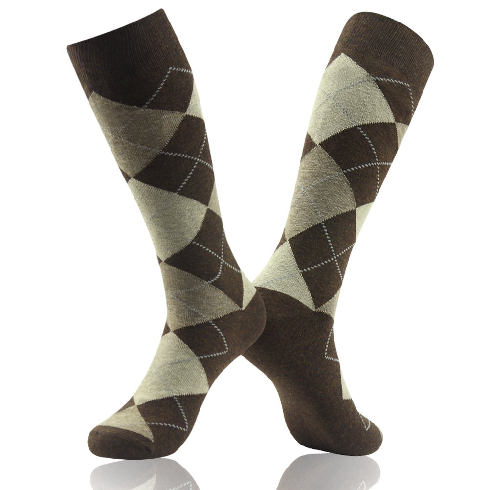 SUTTOS Mens Elite Casual Fun Patterned Mid Calf Crew Dress Socks,6 Pairs SUTTOS Men/'s Coffee Brown Argyle Jacquard Dobby Flat Knit Big /& Tall Moisture Control Wicking Mid Calf Long Crew Tube Socks Easter Day April Fool/'s Day Gifts 6 Pack 6WZSTA008