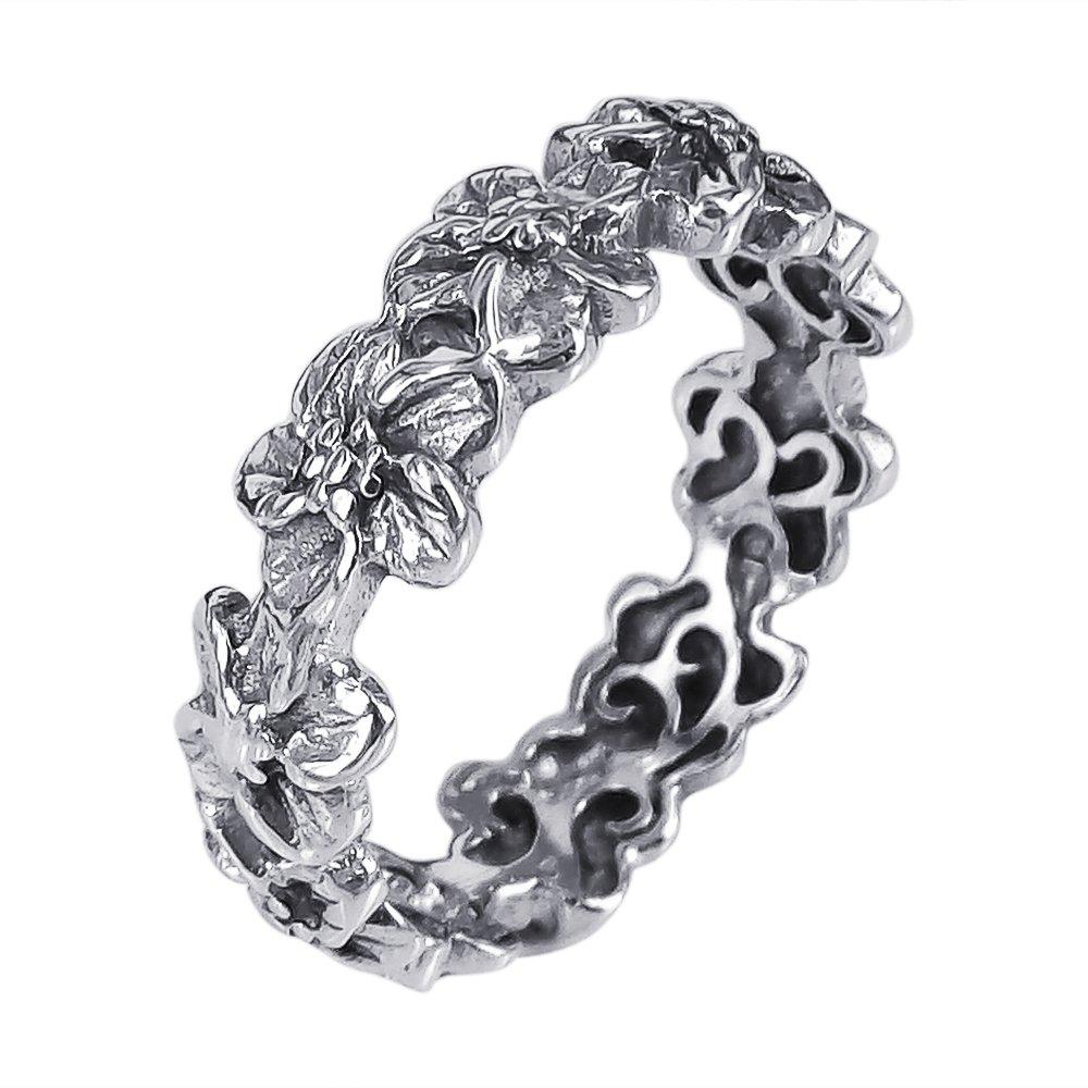 AeraVida Plumeria Flowers Eternity Band .925 Sterling Silver Ring