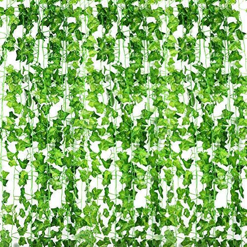 accmor 12 Strands Artificial Ivy Leaf Plants Vine, Hanging Garland Fake Ivy Artificial Ivy Leaves Greenery Garlands for Home Wedding Garden Swing Frame Wall Decoration, 84 Feet.