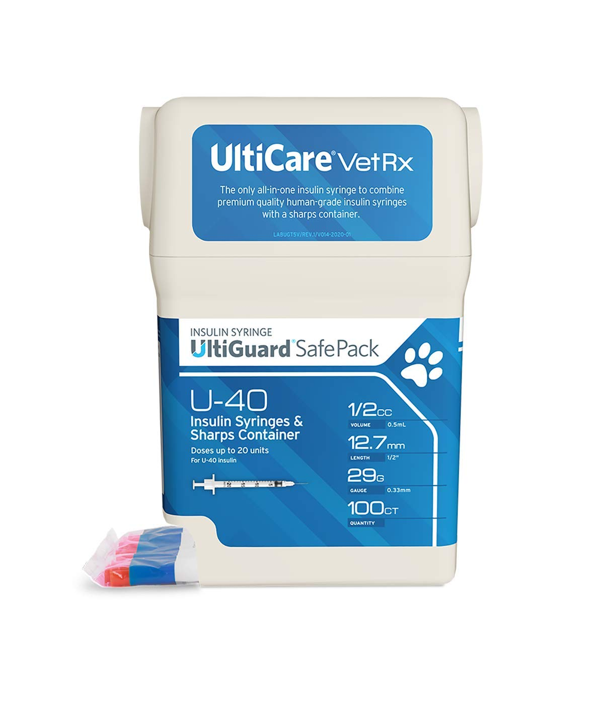 "UltiCare VetRx U-40 UltiGuard Safe Pack Pet Insulin Syringes 1/2cc, 29G x 1/2"", 100 ct"