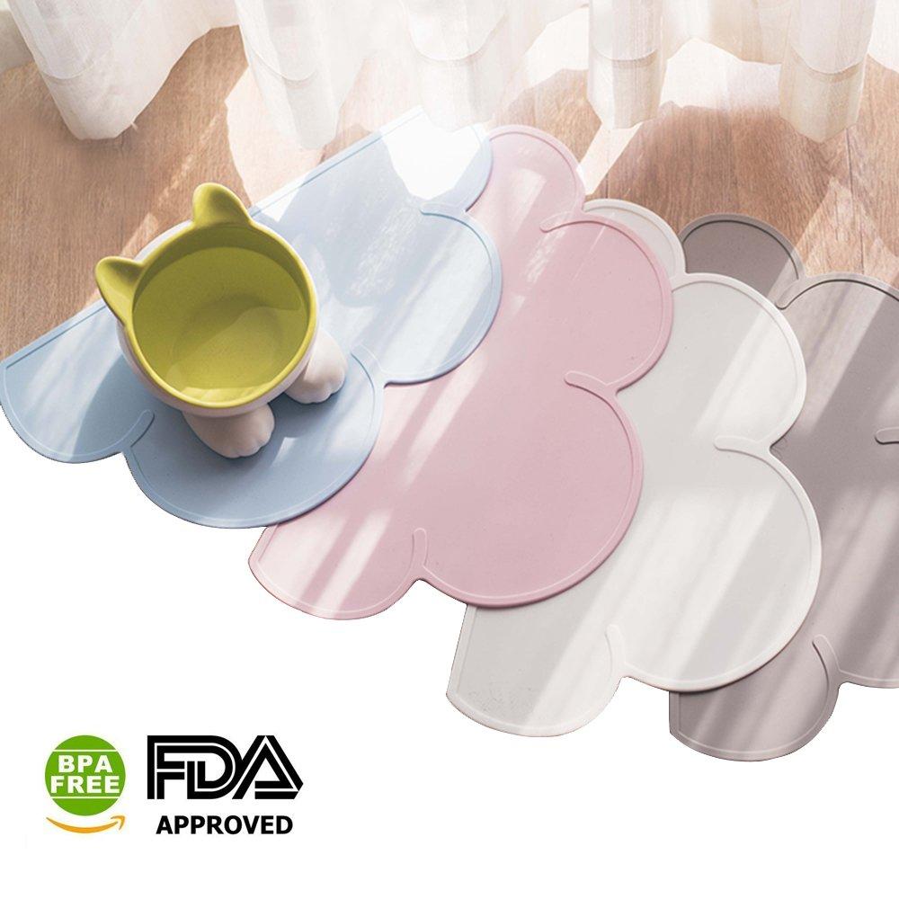 DesignSter Cloud Pet Food Tray – FDA Grade Silicone Anti-slip Waterproof Pet Water Bowl Placemat Feeding Mat Pad, Cat Fountain Mat (Blue)