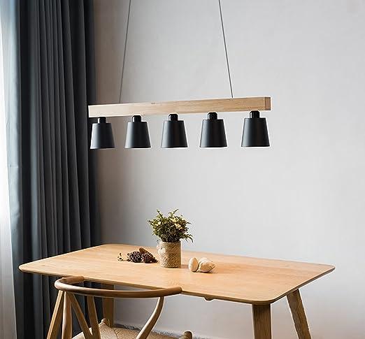 lámpara A sospensione| lámpara Colgante Plafón bombilla E27 X 5 ...