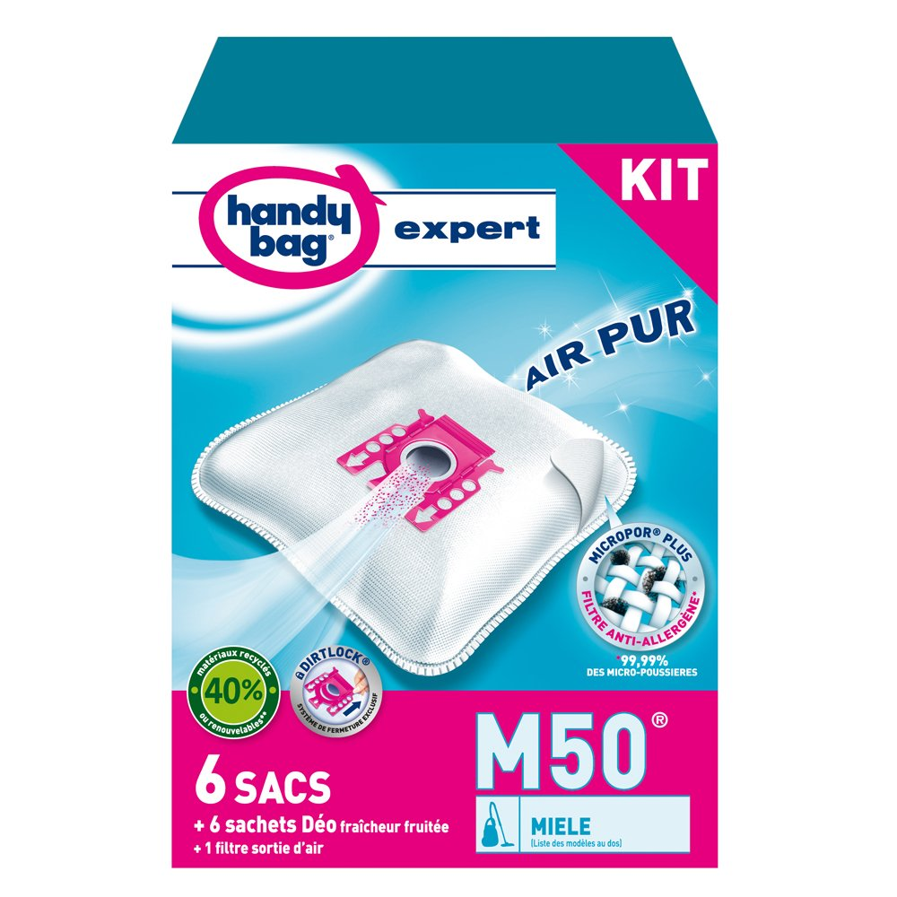Handy bag bolsas aspiradora filtro anti-allerg/ène para aspiradora Miele M50 Miele 6 Sacs cierre herm/ético