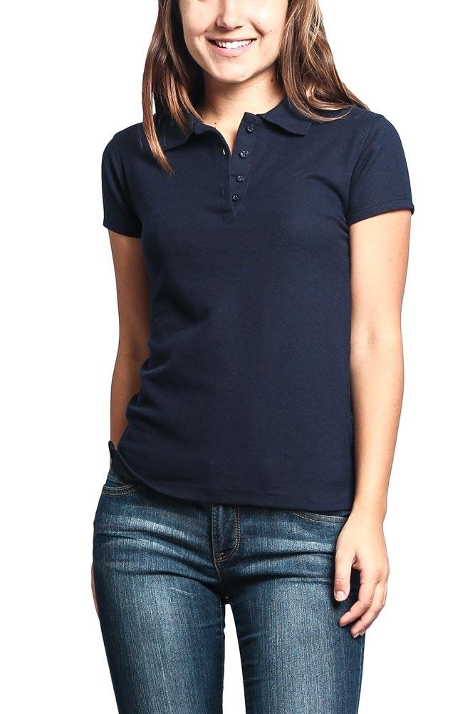 G-Style USA Women's Preshrunk Solid Color Carded Pique Classic Polo Shirt PL600D - Navy - Small - C1H