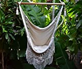 Handmade Hanging Rope Hammock Chair – All Natural Indoor or Outdoor Porch Swing Patio Swing Chair (Off-White)