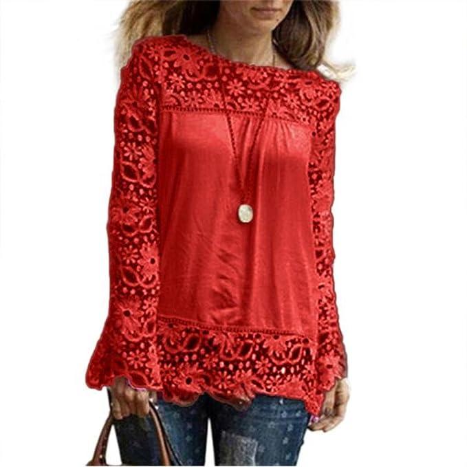 Mujeres de Moda,PANYManga Larga Camisa Casual Blusa de Encaje Tops Sueltos de algodón Camiseta