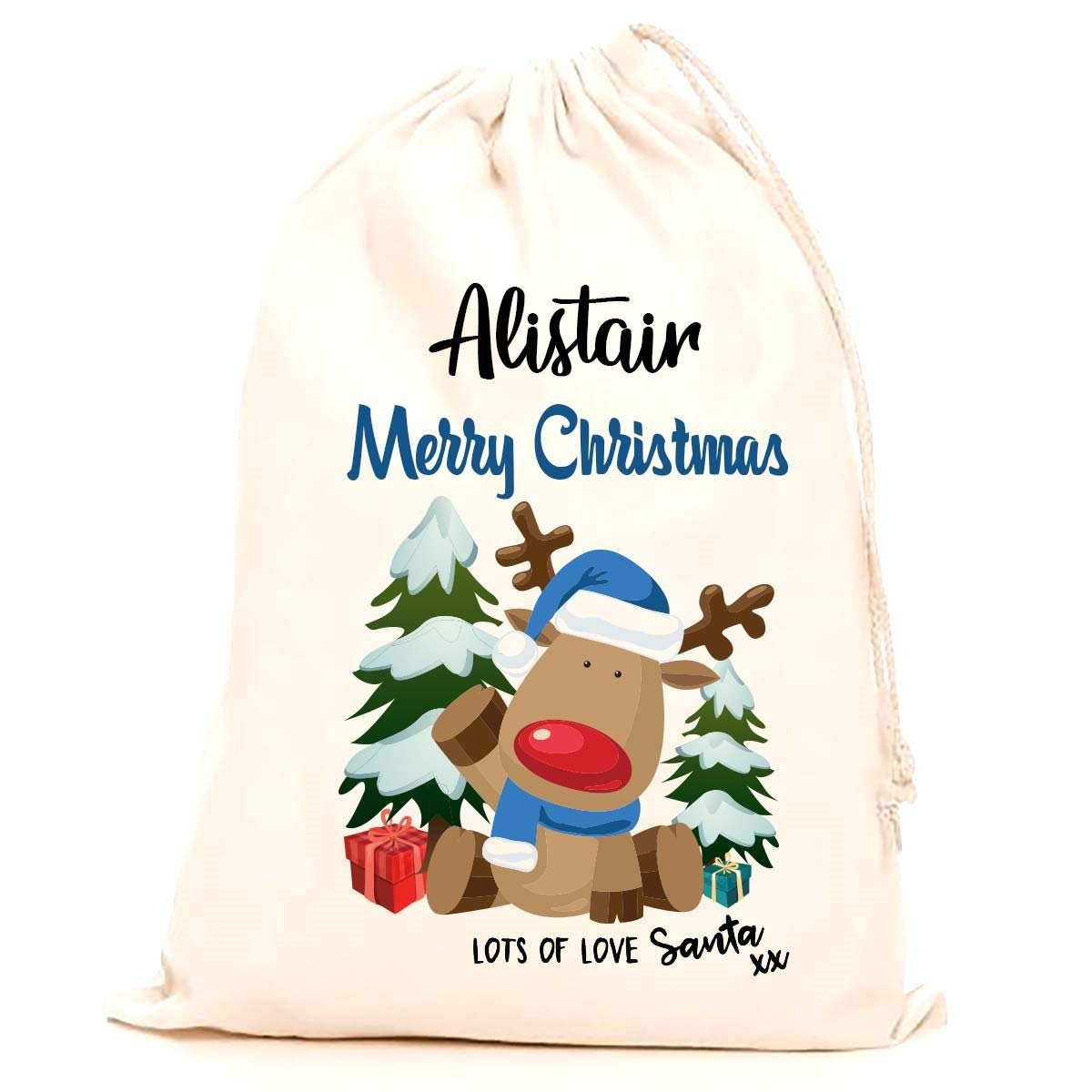 Children making it the perfect keepsake xmas gift//present. 75x50cm Kids Treat Me Suite Alistair personalised name Christmas santa sack 100/% Cotton Large stocking printed with a blue reindeer