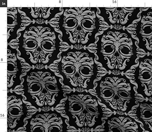Scroll Fabric - French Halloween Edwardian Victorian Spooky Skeleton Print on Fabric by The Yard - Petal Signature Cotton for Sewing Quilting Apparel Crafts Decor -