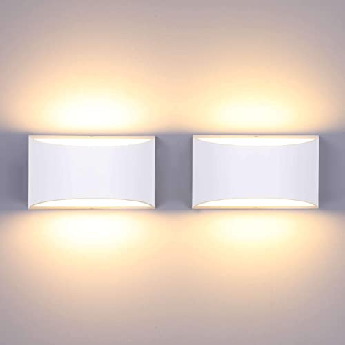 Lightess Dimmable Wall Sconce Set of 2 Modern Wall Lamp 12W Indoor Up Down Wall Mounted Lamps LED Wall Light Fixture