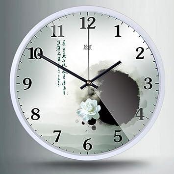 Kaxima Reloj de pared chino reloj de pared decorativo del dormitorio de la sala de estar mudo reloj de cuarzo reloj de pared de metal 30*30cm: Amazon.es: ...