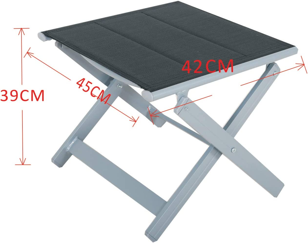 Chicreat Upholstered Footstools Set of 2 Aluminium Black//Silver