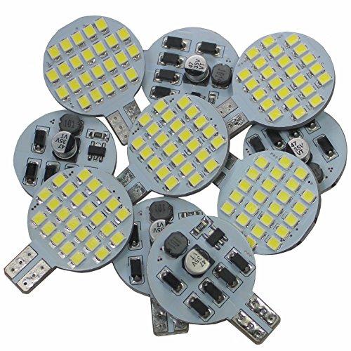 (10 x Super Bright 12v 4.8w T10 921 194 Trailer,Boat,RV,Iandscaping & Camper Interior Wedge 24-SMD LED Light Bulb(Pure White))