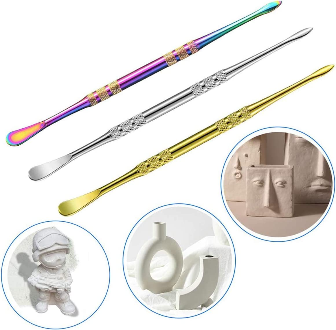 Rainbow + Silver 6 Packs Wax Carving Tool Wax Tool Carving Tool Stainless Steel Tool Spoon 4.75 Inch