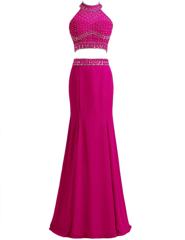 SeasonMall Women's Prom Dresses Mermaid Two-Piece Halter Chiffon & Tulle Dresses Size 2 US Fuchsia
