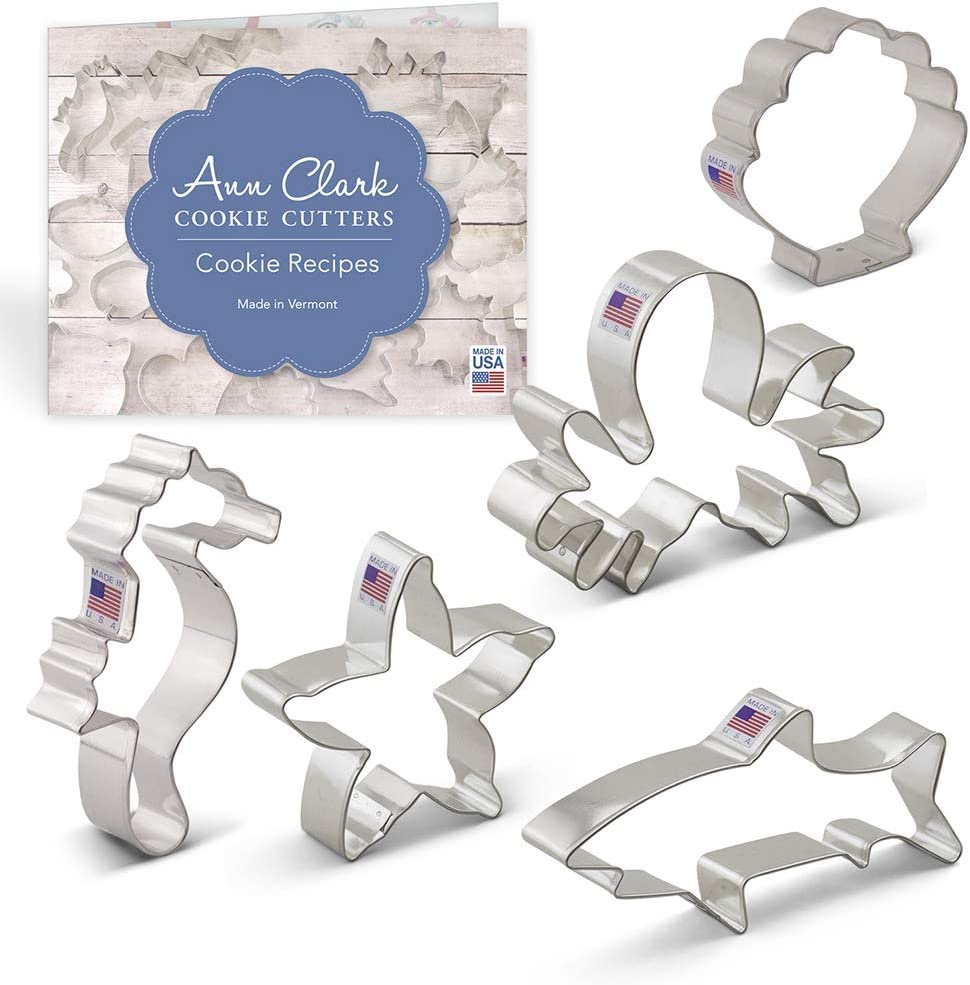Ann Clark Cookie Cutters 5-Piece Under The Sea Cookie Cutter Set with Recipe Booklet, Seahorse, Octopus, Sea Shell, Starfish and Shark