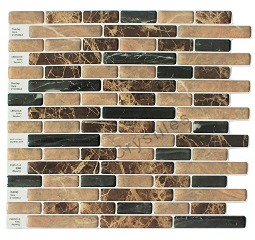 Crystiles Peel and Stick Self-Adhesive Vinyl Wall Tiles, Brown and Black Marbling, Item# 91010843, 10