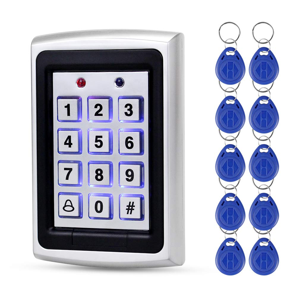 LUCINE 125 KHz Caja de metal Teclado de acceso RFID Panel de control de acceso de proximidad Teclado Wiegand26 para sistema de control de acceso de entrada de puerta