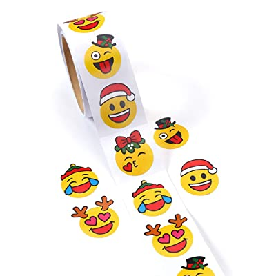 CCINEE Christmas Party Favors Stickers Emoji Stickers Smiley Emoji Lables for Kids, One Roll/100 Pieces.: Toys & Games