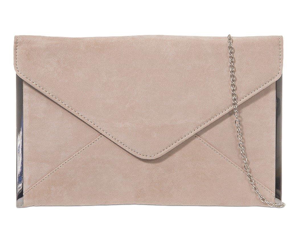 Red Clutch Bag Ladies Faux Suede Evening Bag Silver Tone Envelope Shoulder Bag