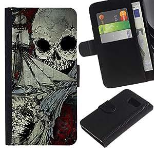 // PHONE CASE GIFT // Moda Estuche Funda de Cuero Billetera Tarjeta de crédito dinero bolsa Cubierta de proteccion Caso Samsung Galaxy S6 / Skull Pirate Pattern /