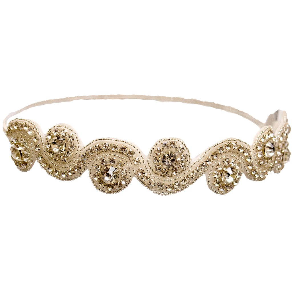 Mia Embellished Beautiful Beaded and Rhinestone Headband-White Swirl Design With Large Brilliant Cut Diamond Shaped Glass Rhinestones-Great For Weddings-One Size Fits All Elastic!(1 piece per package)
