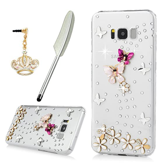 for Samsung Galaxy S8 Plus Case, YOKIRIN Crystal Clear Transparent Handmade Bling Shiny Crystal Diamond Design PC Hard Shell Full Protective Case ...