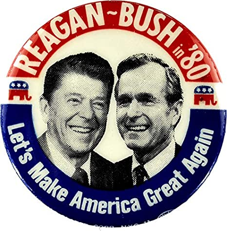 Presidential Ronald Reagan Pin Back Campaign Button Scandinavians Bush Political