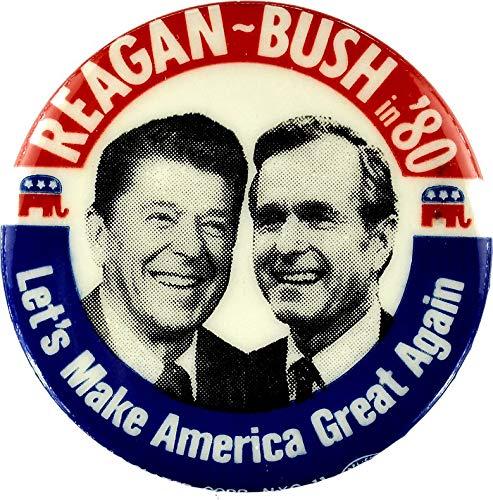 MAGNET Reagan Bush '84 '80 Retro Logo Red White Blue Election Ronald George 1984 84 1980 80 Pin Magnet Decal Fridge Metal Magnet Window Vinyl ()