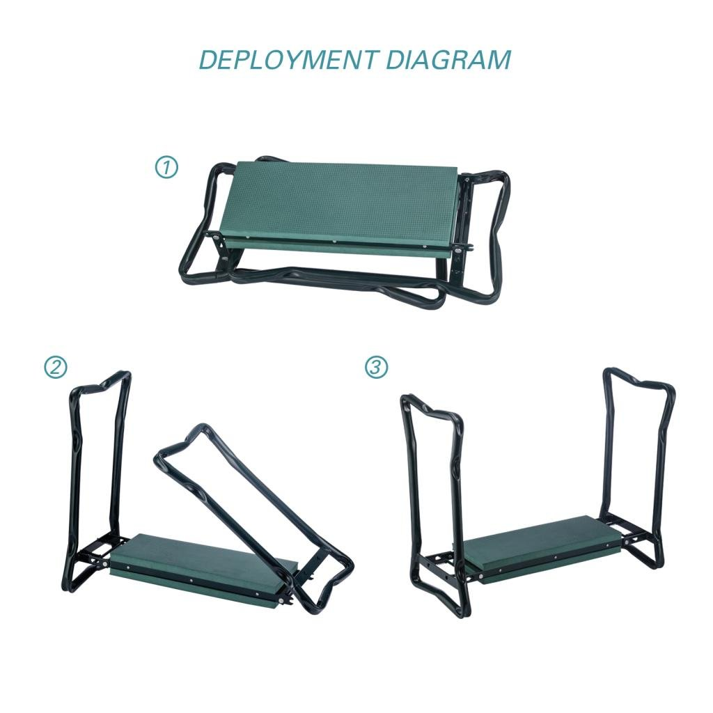 Ideal Choice Product Deep Seat Garden Kneeler and Seat-FoldingGarden Kneeler with 2 Ex-Large Tool Pouches-Gardener Foldable Bench Stool with Kneeling Pad Cushion-Gardening Bench by Ideal Choice Product (Image #7)