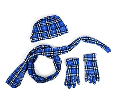 Best Blue Fleece Plaid Winter Hat Glove and Scarf Set for Women Patterned  Knitted Designer Scarves 487462a3a86