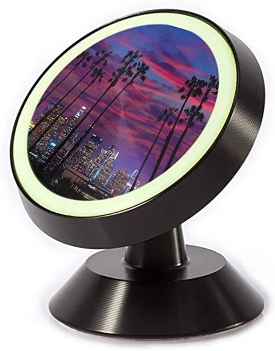 Tinmun Magnetic Phone Car Mount, Downtown La Night Los Angeles Universal Car Phone Holder for Dashboard
