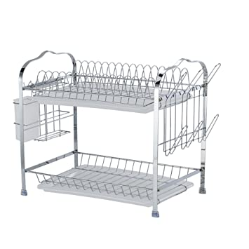 Rejilla para platos de aleación de aluminio, estante doble, combinación de portapapeles y portavasos