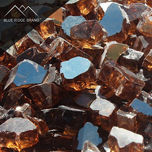"""Blue Ridge Brand™ Copper Reflective Fire Glass - 20-Pound Professional Grade Fire Pit Glass - 1/2"""" Reflective Glass for Fire Pit and Landscaping"""