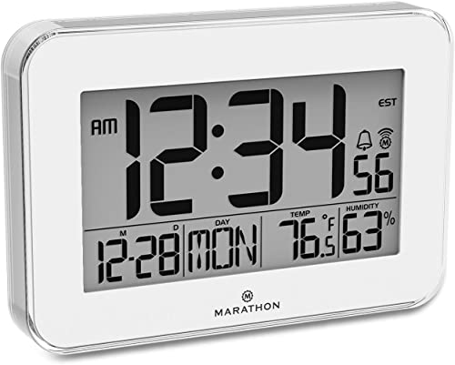 MARATHON CL030060WH Designer Atomic Wall Clock with Polished Acrylic Bezel. Displays Calendar, Indoor Temperature and Humidity. White